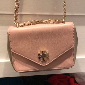 Tory Burch Pale Pink and Gold Crossbody